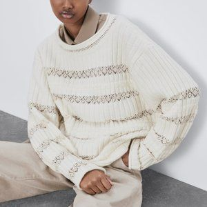 Zara COMBINATION POINTELLE SWEATER-ECRU-4331/130-S